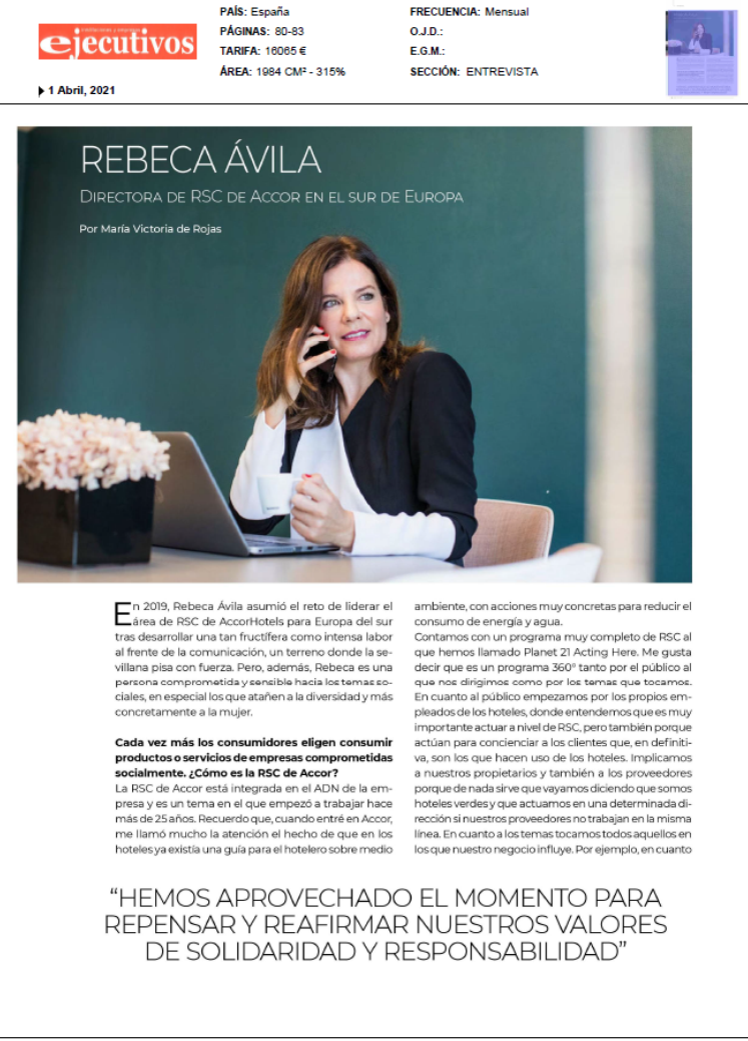 Rebeca Avila, Entrevista en Ejecutivos